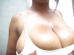 very pretty blond with big tits working out at