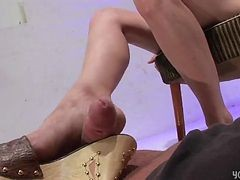 footjob from girl in his office