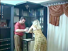 chubby blonde mature russian gives head